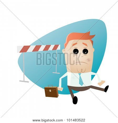 funny businessman fallen over hurdles