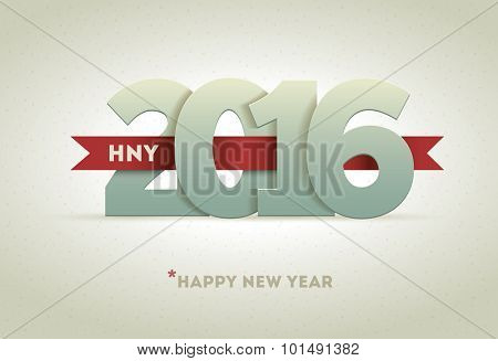 2016 Happy New Year. Vector greeting card design element.
