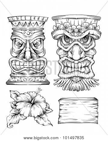 Line Art Illustration Featuring Different Polynesian Elements