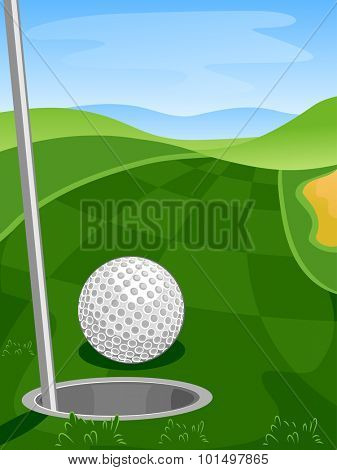 Illustration of a Golf Course with a Golf Ball Lying Close to a Golf Hole