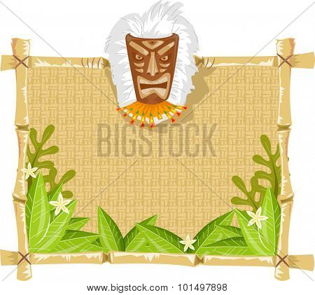Illustration of a Wooden Board Decorated with a Tiki Mask
