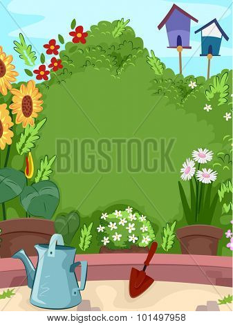 Background Illustration of a Garden Thriving with Flowers