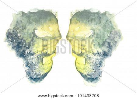 Rorschach. Yellow watercolor.