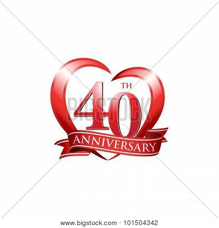 40th anniversary logo red heart ribbon
