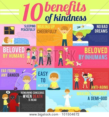 10 Benefits Advantage Of Love And Kindness In Cute Cartoon Infographic Banner Template Layout Backgr