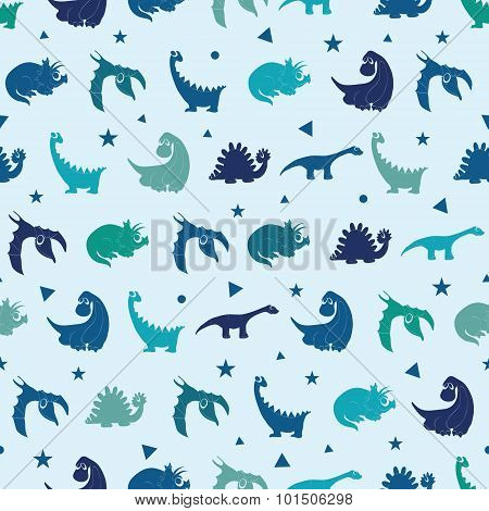 Vector Blue Dinosaurs Silhouettes Seamless Pattern. Cute Baby Tyrannosaurus, Playful Stegosaurus