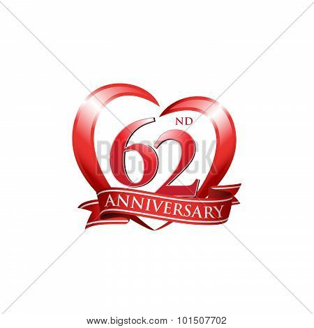 62nd anniversary logo red heart ribbon
