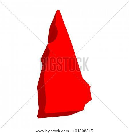 New Hampshire NH Red USA 3d State Map