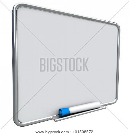 Dry erase board on angle for writing messages with blue pen or marker, communication of a to do list