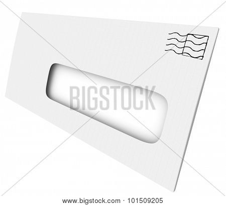 White mailing envelope with blank copy space  in an opening or window for mailing address or your message or wording