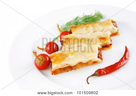 traditional italian cannelloni with red hot peppers