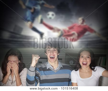 Young people watching football match on telly