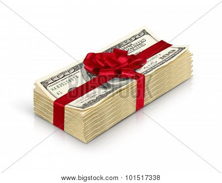 Money Gift, Stack Of Cash With Red Bow Isolated On White Background With Path