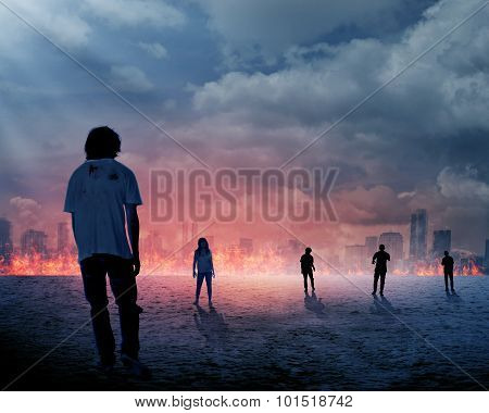 Group Of Zombie Over Burn City Background