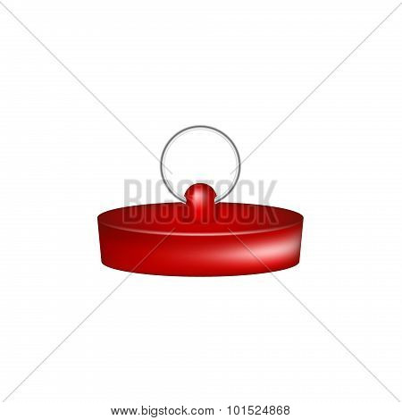 Rubber plug in red design on white background poster
