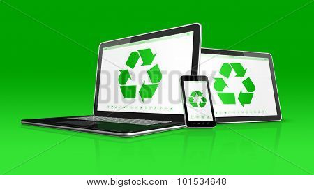 Laptop Tablet Pc And Smartphone With A Recycle Symbol On Screen. Environmental Conservation Concept