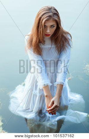 Beautiful Girl Standing In The Water Dress.