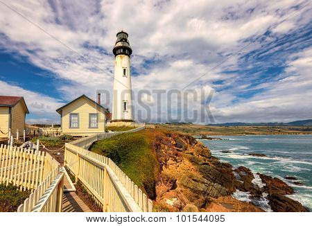 Pigeon Point Lighthouse under the beautiful sky in California