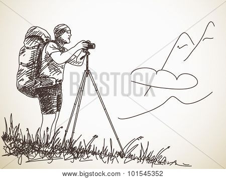 Trekking man with tripod taking a photo, Hand drawn Vector illustration