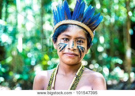 Cute Brazilian Indian in Amazon