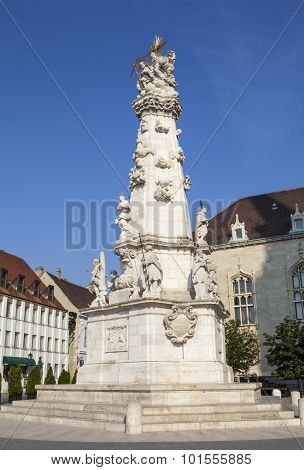 The monument in Szentharomsag Ter in Budapest Hungary. poster