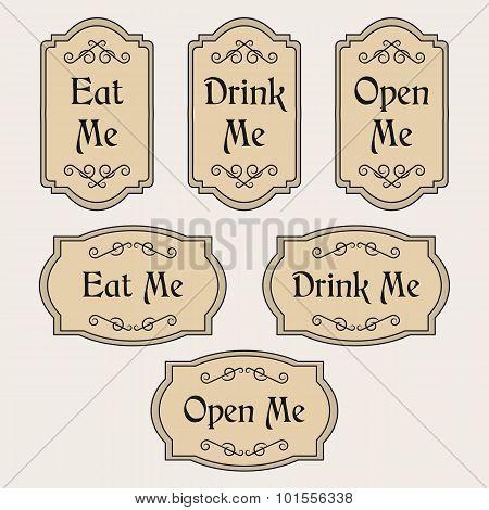 Eat, Drink, Open Me vintage labels