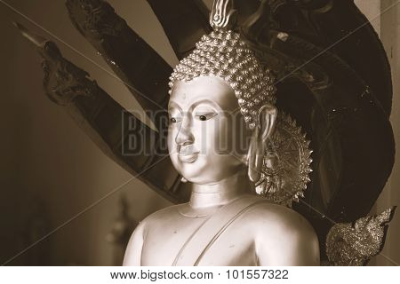 Golden Buddha Statue With Naka Cover Pose Closeup In Golden Vintage Tone Like Old Picture In Trad, T