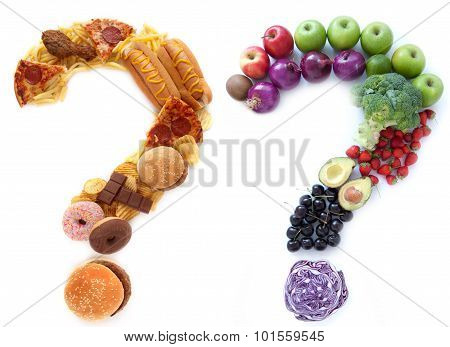 Unhealthy and healthy food ingredients in a the shape of question marks alongside each other poster