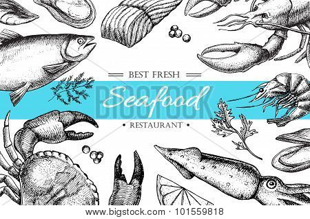 Vector Vintage Seafood Restaurant Illustration.