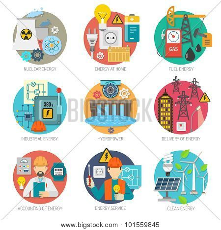 Energy flat icons composition set