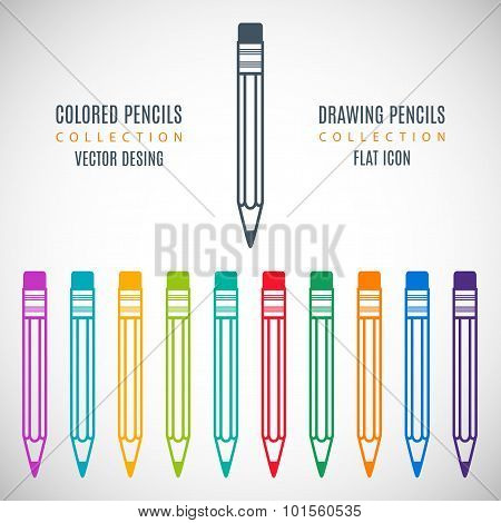 Set Colorful Pencils Icons In The Style Flat Design Isolated On Gray Background