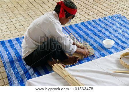 Artisan Is Making Rattan Basketry Handcraft