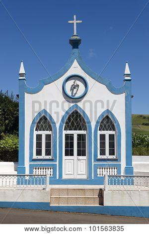 Traditional Azores Catholic Chapel In Santo Antao. Sao Jorge. Portugal