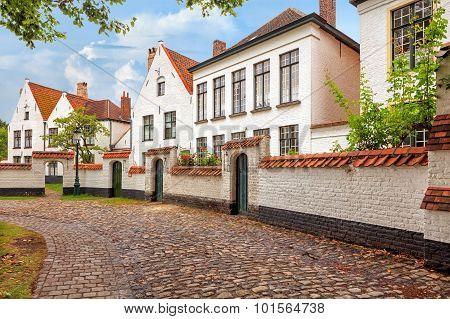 Bruges historical pitched roofs of Begijnhof
