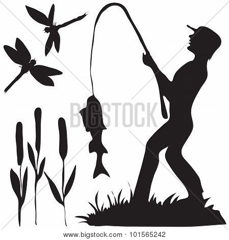 Hand drawn silhouette a fisherman.