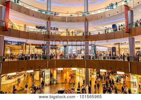 Dubai - AUGUST 7, 2014: Dubai Mall shopping mall on August 7 in Dubai, UAE. Dubai is the center of trade in Middle East