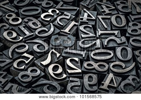 random number background - vintage letterpress wood type printing blocks