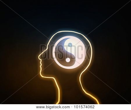 Human head with yin yang icon on dark background  poster