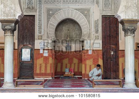 The Moroccan Muslim Read Book In The Mosque