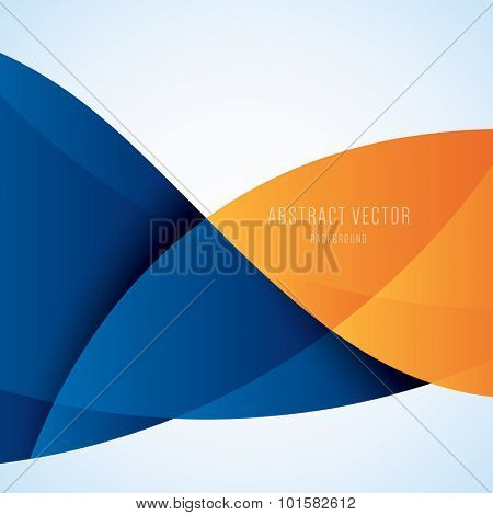 Abstract blue and orange modern wave vector background