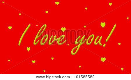 I love you Gold on Red With Hearts