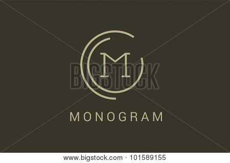 Simple line circle logo. M letter monogram. Vector M circle. Circle O and M letter design. Abstract M letter. Round rings. Ring circle symbol. Thin line circle.  Monogram M circle icon