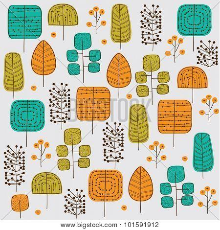 Autumn trees seamless pattern