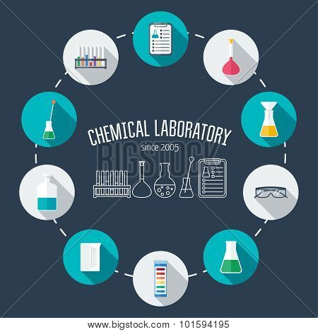 Chemical laboratory flat icon set. Scientific banner background poster concept. Scientific research. Flat design. Vector illustration poster