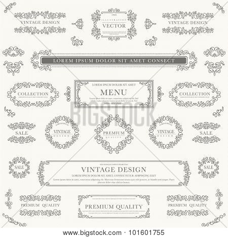 Set of decorative vintage design elements for label, logo, emblem design.