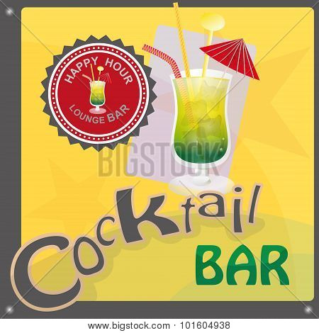 This file represents a sign or a label or a graphic for a cocktail bar or an invitation. There is a cocktail glass the write cocktail bar and a label with the write lounge bar happy hour. The prevalent colors are yellow green and red. Everything is groupe