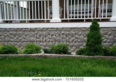 Shrubs in Front of a Porch