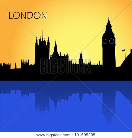 London, skyline, vector illustration in flat design for web sites, Infographic design