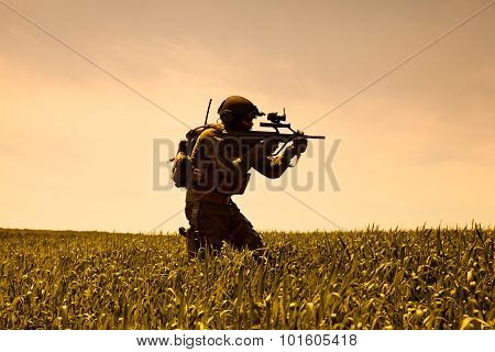 Jagdkommando soldier Austrian special forces equipped with rifle poster