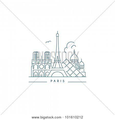 Paris Landmark. Line style